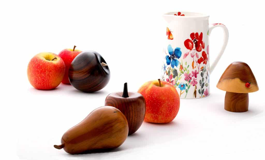 wooden fruit and real fruit