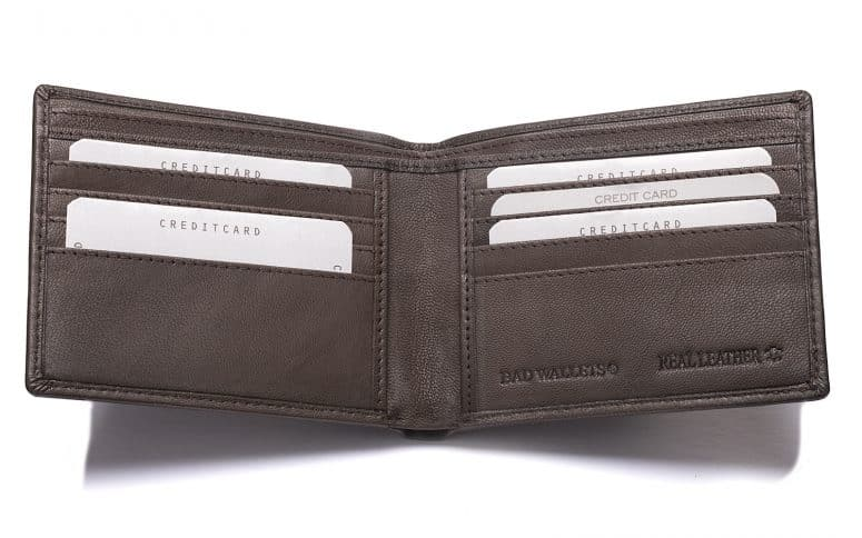 internal photograph of a leather wallet