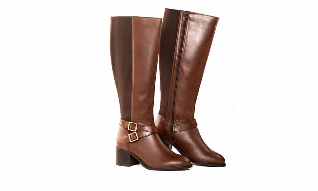 product photograph of brown knee lenght boots