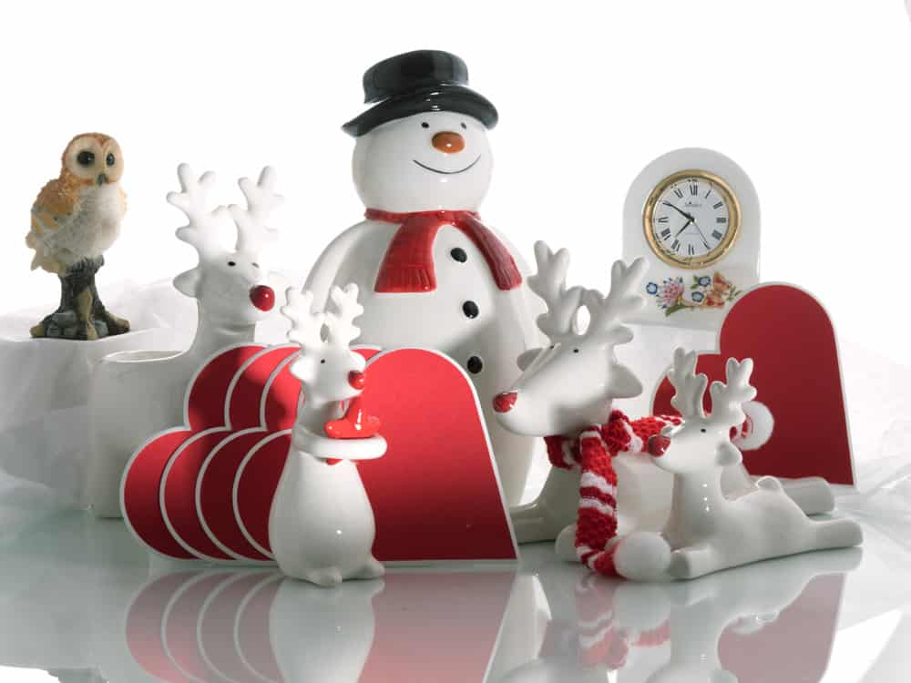 ceramic snowmen and reindeers valentines hearts