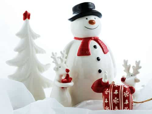 Christmas Snowman finds the little red reindeer