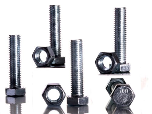 Product Photography of metal Hex screws and bolts.